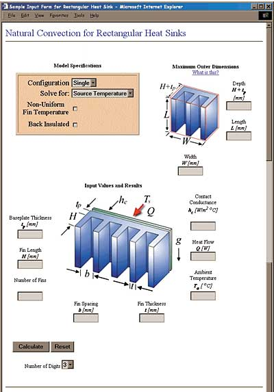 Natural Convection Modeling Of Heat Sinks Using Web Based