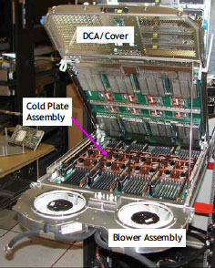 Figure 5. View of the Power 575 supercomputing node with the DCA/cover up.